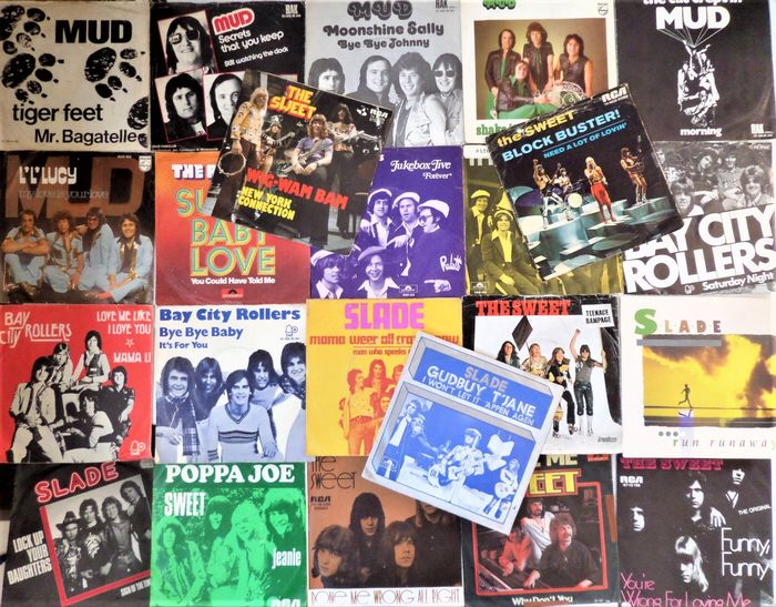 The Sweet, Mud, Slade and others - Lot of 23 great glamrock singles from the seventies - 45 rpm Single - 1971/1983