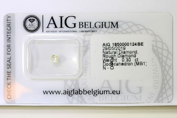 Diamant - 0.30 ct - Rough Diamond - N (gekleurd) - SI2 - * NO RESERVE PRICE *