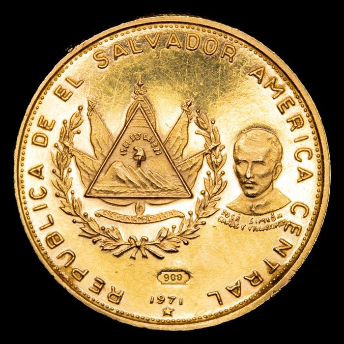 El Salvador - 25 Colones - 1971 - Republica Del Salvador - Oro. (2,94 g., 16 mm). - Oro