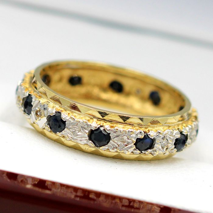 9 kt. Yellow gold - Ring - 0.48 ct Sapphire - Diamonds