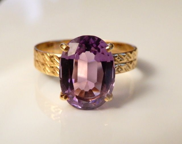 No réserve !! - 18 kt. Yellow gold - Ring Amethyst