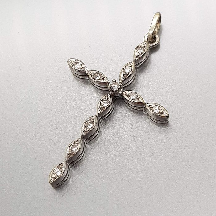 18 kt. White gold - Pendant - 0.37 ct Diamond