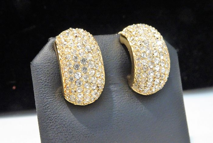 Christian Dior -  Gold-plated, Pave set Clear Crystals - Half Hoop Earrings