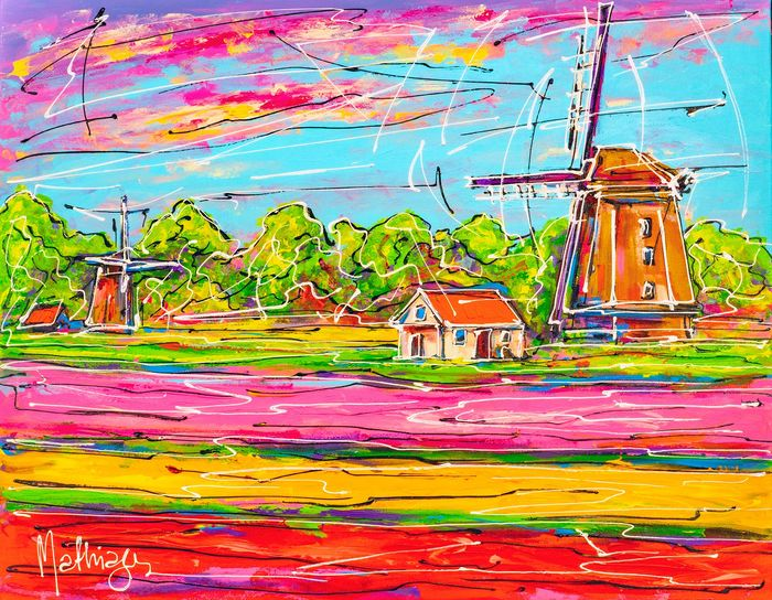 Mathias - Colorful Netherlands, two windmill