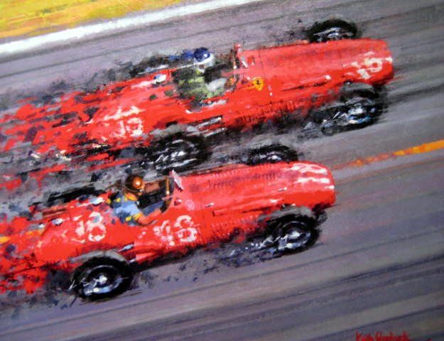 Fine Art Print - Limited 50 Pcs. - Ferrari #16/Mike Hawthorn (Winner) Maserari #18/J.M.Fangio - French Grand Prix, Reims - 1953