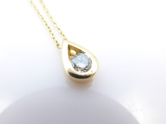 14 quilates Oro amarillo - Collar con colgante - 0.25 ct Diamante