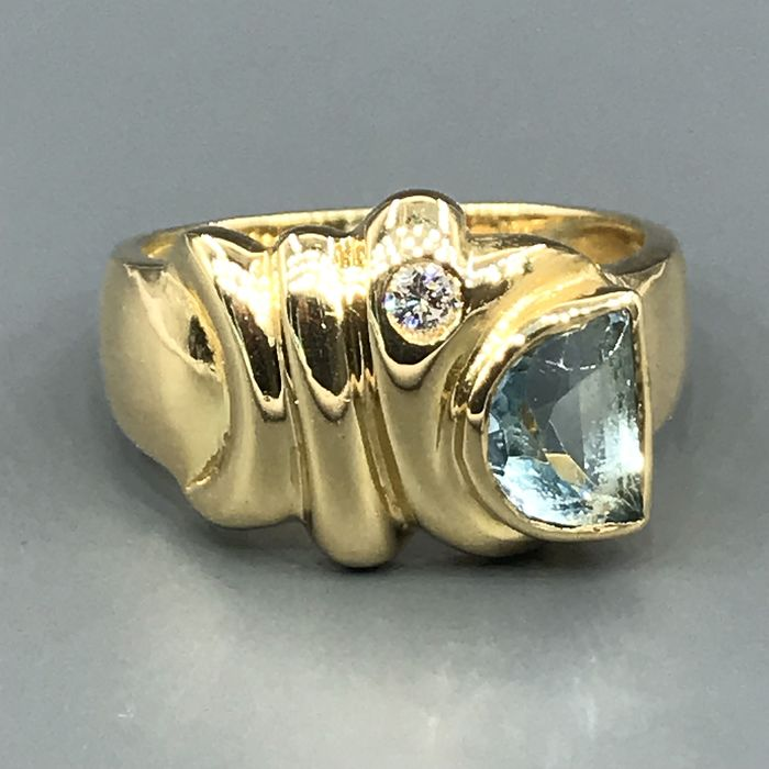 18 quilates Oro amarillo - Anillo - 0.60 ct Topacio - Diamante