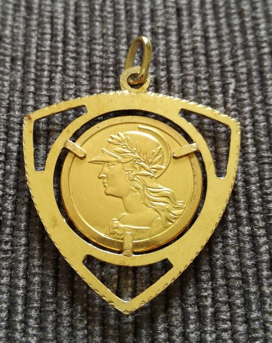 Yellow gold - Pendant, currency