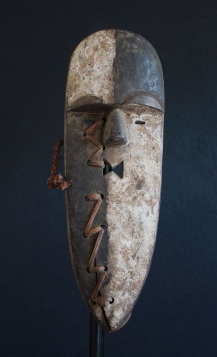 Mask/Amulet with an Original Repair from Gabon (1) - Wood - Africa