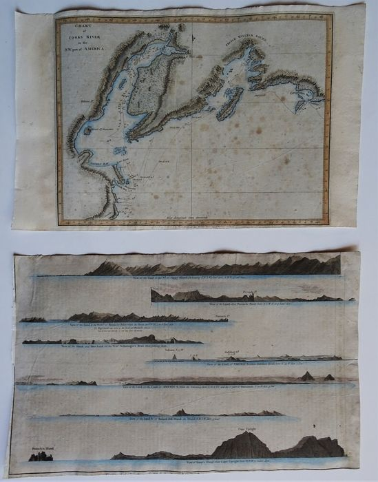 V.S., Alaska, Cook Inlet - map & coast line views; Anderson / Hogg / Webber / Cook - Chart of Cook River in the N.W. Part of America / Views of the Land on the West Coast of America...  - 1781-1800