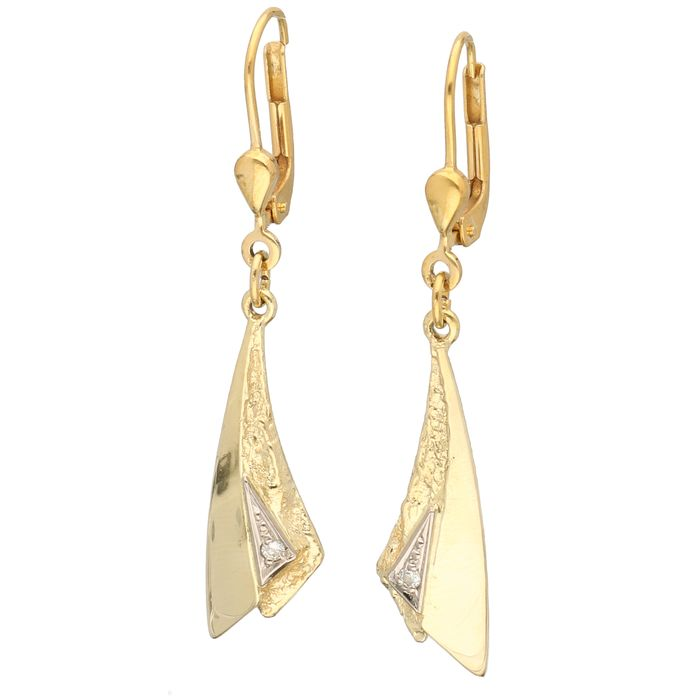 14 kt gold, bicolour - Earrings - 0.02 ct diamond