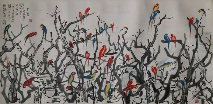 Pintura de tinta - Pintura china de tinta sobre papel - 《吴冠中-鹦鹉天堂》Made after Wu Guanzhong - China - Finales del siglo XX