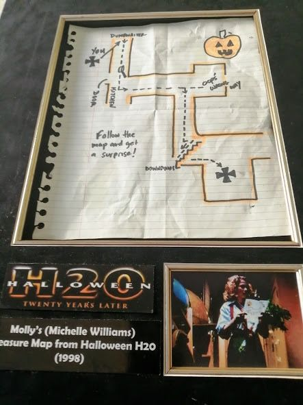 Halloween H20 (1998)  - Jamie Lee Curtis - Molly's (Michelle Williams) Treasure Map - framed - with Coa