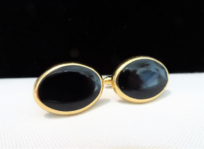 Yves Saint Laurent -  Gold-plated, Black Plastic  - Cufflinks