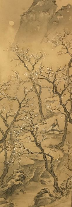Hanging scroll - Silk and wood shaft heads - Scholar viewing cherry blossoms beneath a full moon - By Muraoka Oto 村岡応東 (1873-1946) - Japan - 1932 (Early Showa Period)