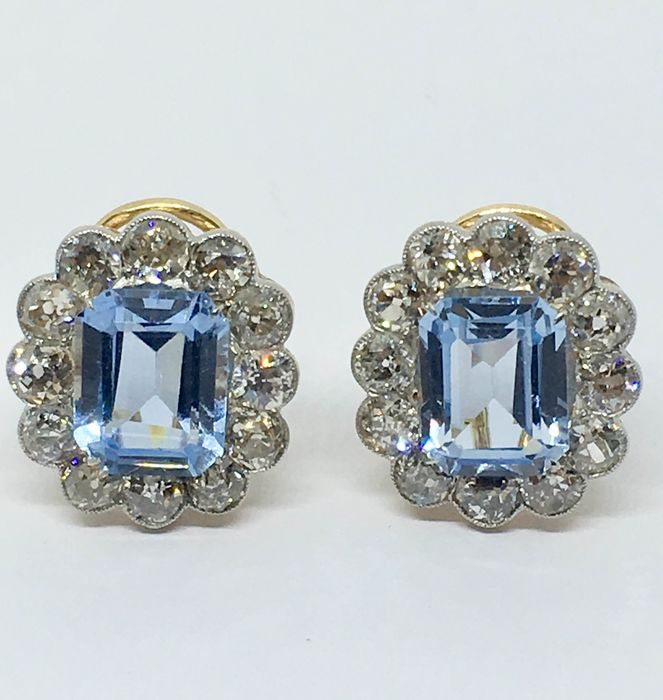 18 quilates Oro - Pendientes - 9.24 ct Topacio - Diamante