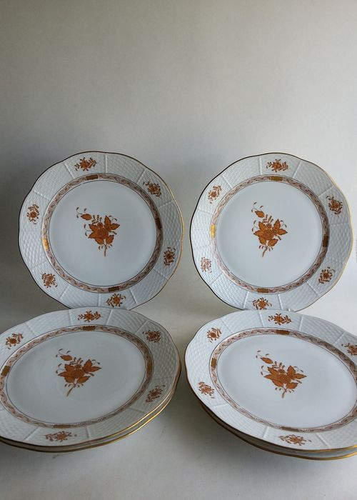 Herend - 6 platos de naranja marrón Apponyi 524 AM - Porcelana