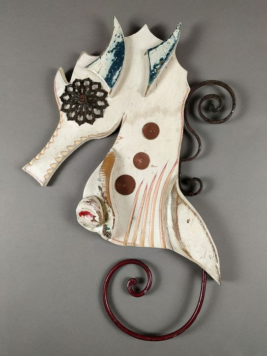 Barberini - recycled materials - Seahorse figure - Metal, Wood
