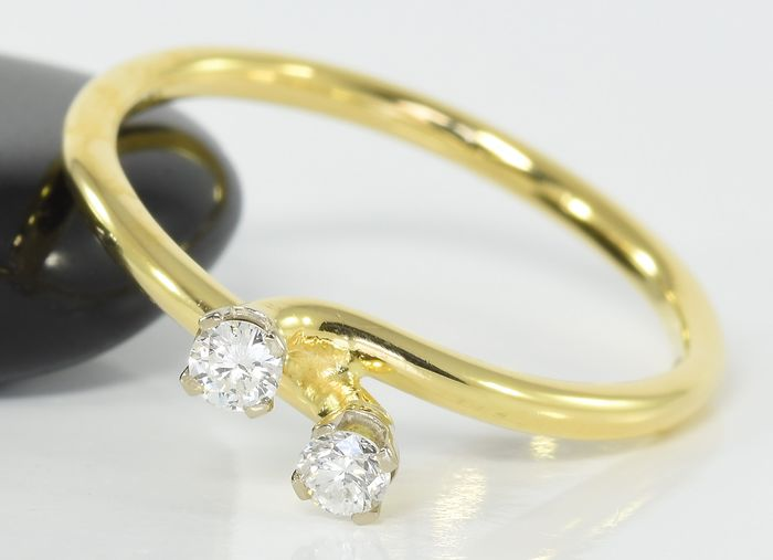 18 kt. Gold - Ring - 0.10 ct  Diamond - Brilliant - Anchorcert Certified - No Reserve