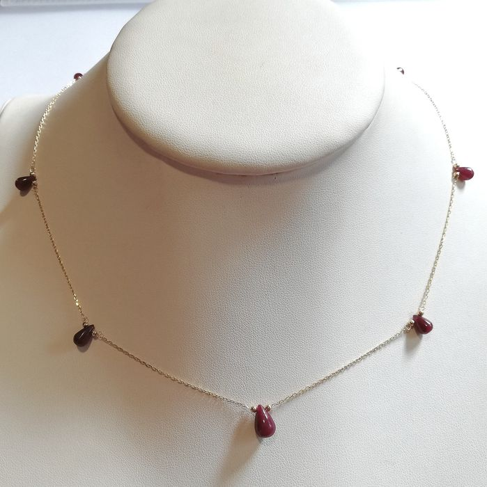 14 kt. Gold, Yellow gold - Necklace Ruby