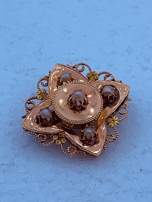 18 carats Or rose - Broche Perle - Perles