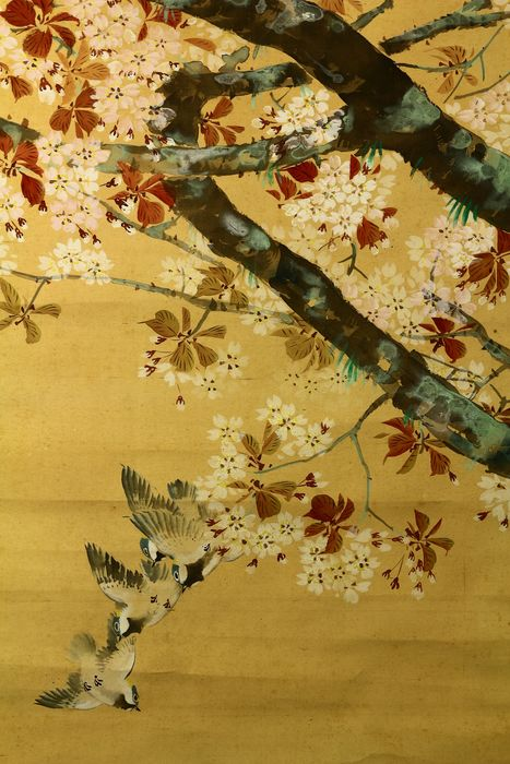 Hanging scroll - Paper, Silk, Wood - Birds and sakura tree - With signature and seal 'Kaho' 華甫 - Japan - ca. 1930-40 (Early Showa period)