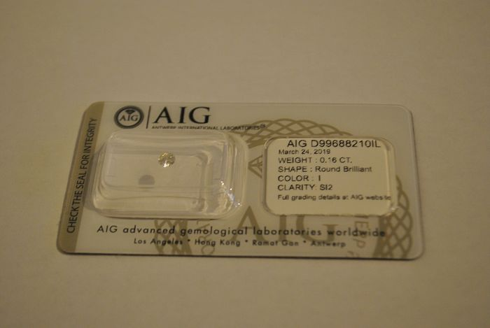 1 pcs Diamond - 0.16 ct - Brilliant - I - SI2