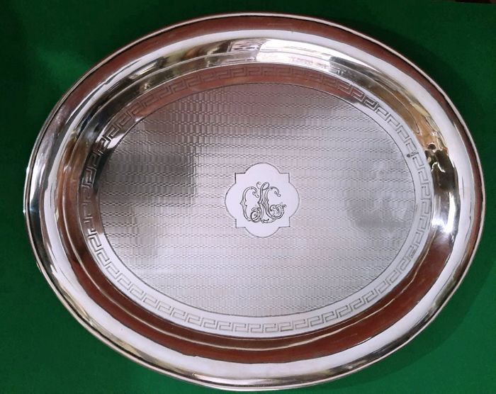 """Tray, Silver tray with """"guilloché"""" decoration and initials. - .925 silver - Spain - Late 19th century"""