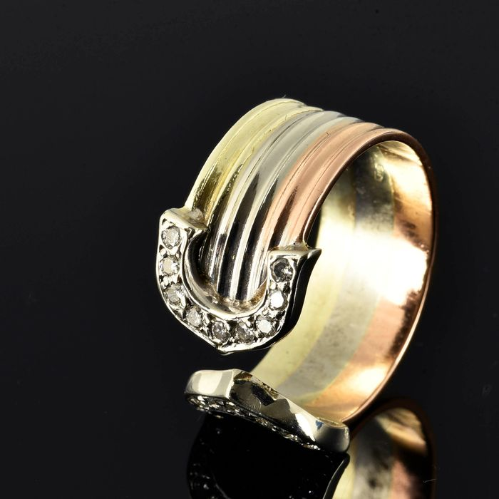 14 kt. Pink gold, White gold, Yellow gold - Ring - 0.18 ct Diamond