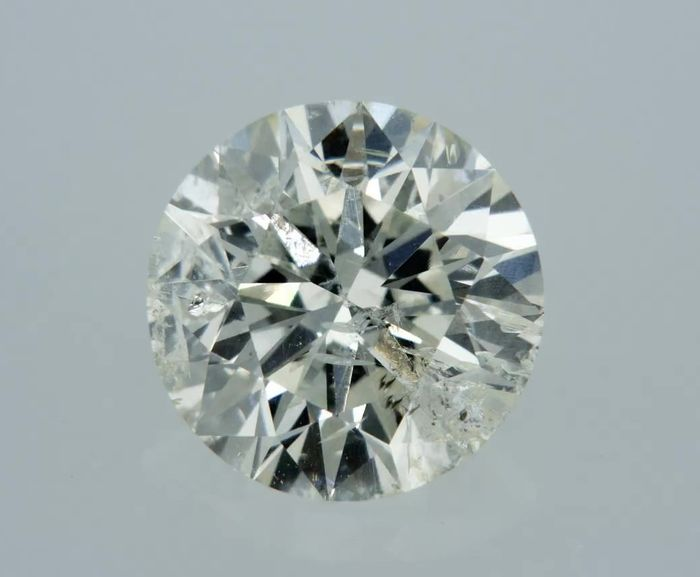 1 pcs Diamant - 1.08 ct - Rond - I - SI3