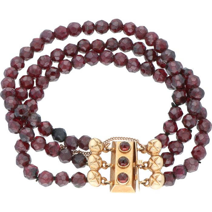 14 karat Yellow gold - Bracelet Garnet