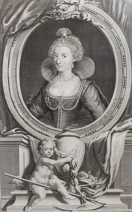 Jacobus Houbraken (1698-1780) - Anne of Denmark. Queen of K. James I (at Somerset House)