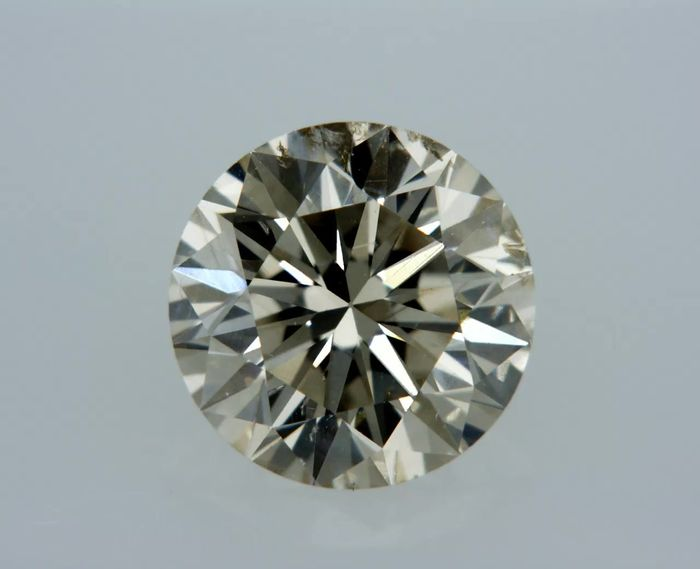 1 pcs Diamond - 1.13 ct - Round - Light Brown - SI1