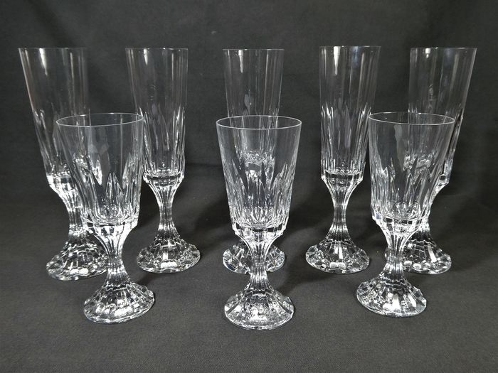 "Baccarat - 5 champagne flutes + 3 aperitif glasses ""Massena"" - Crystal"