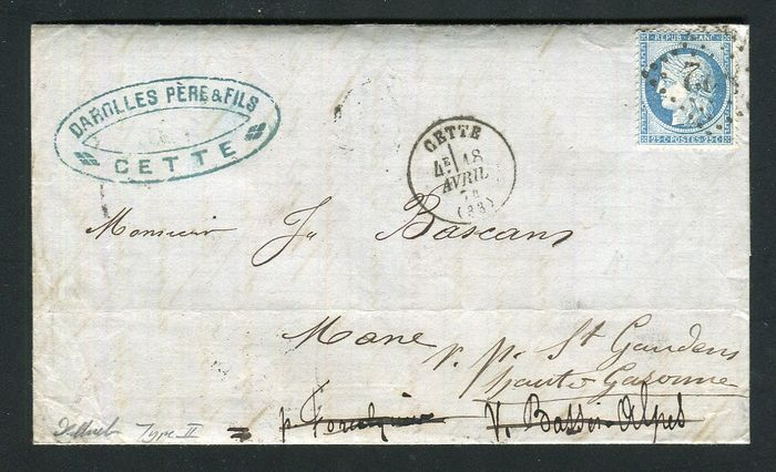 France 1874 - Rare letter from Cette to Mane with a No. 60B Type II