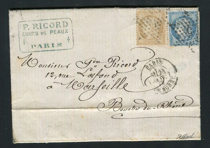France 1872 - Letter from Paris to Marseille with double postage with Nos. 59 & 60