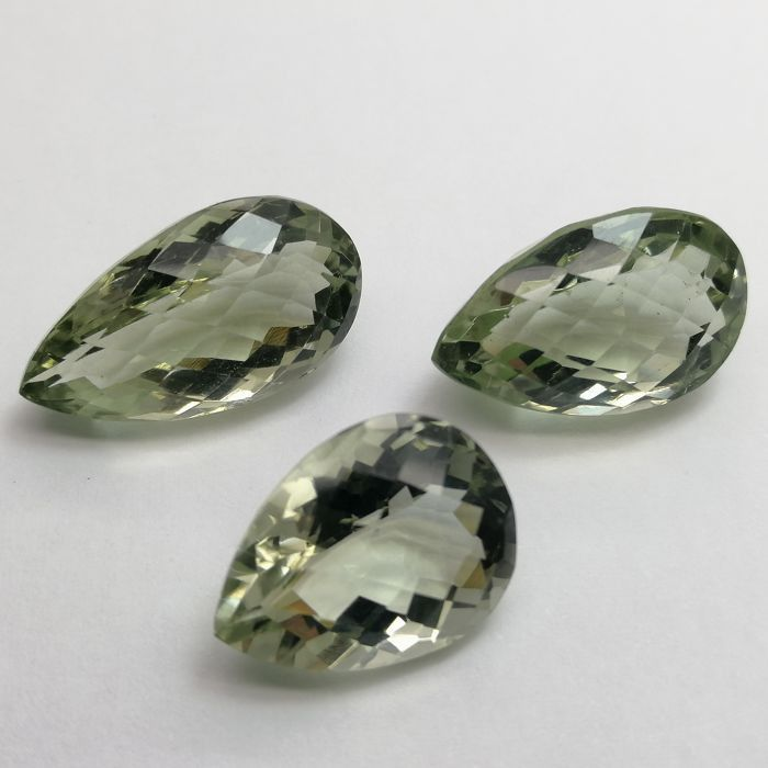3 pcs Green Prasiolite - 37.10 ct