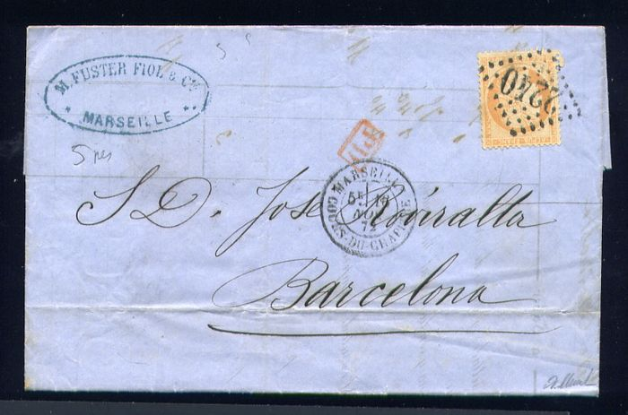 France 1872 - Rare letter from Marseille to Barcelona (Spain) with a No. 38