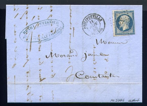 France 1859 - Rare letter from Philippeville to Constantine (Algeria - North Africa) - Rare cachet PC 3794 au lieu de 3734