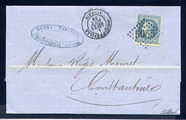 France 1869 - Rare letter from Philippeville to Algiers (Algeria - North Africa) - Cachet GC 5055