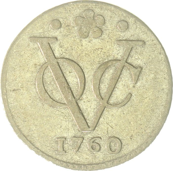 VOC - Holland - ½ Duit 1760 - Turn in silver