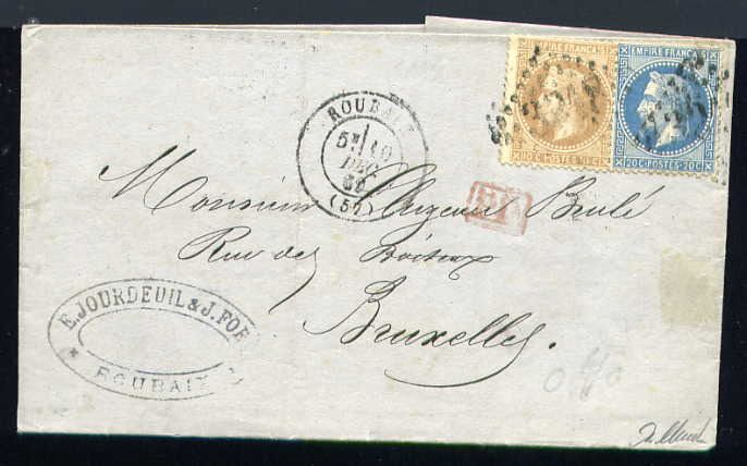 France 1869 - Rare letter from Roubaix to Brussels (Belgium) with No. 28 ad 29