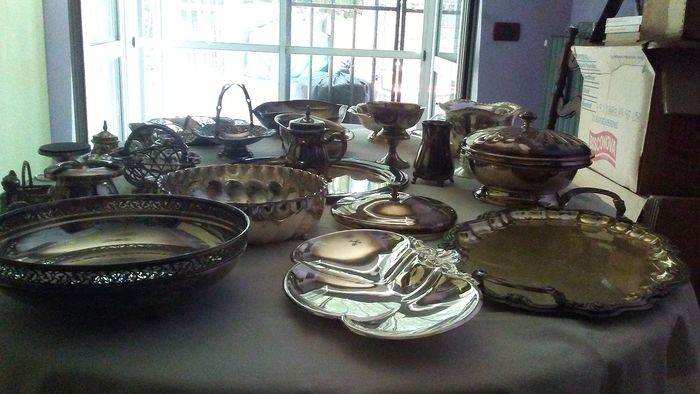 complete collection of tableware (27) - silver plate - Italy - First half 20th century