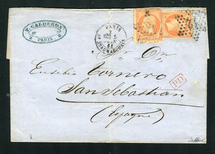 France 1863 - Rare letter from Paris for San Sebastian (Spain) with double postage with two No. 23