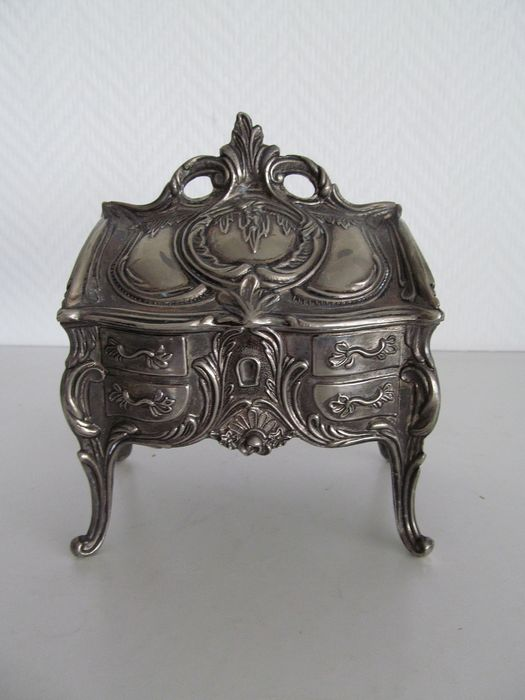 Antique French pewter wedding box on high legs - Tin