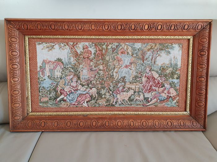 Framework with romantic scene - Wood frame worked-braided woven fabric