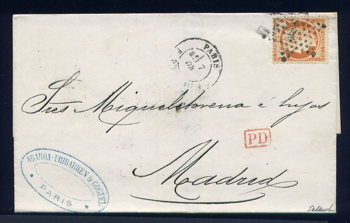 France 1873 - Rare letter from Paris to Madrid (Spain) with a No. 38