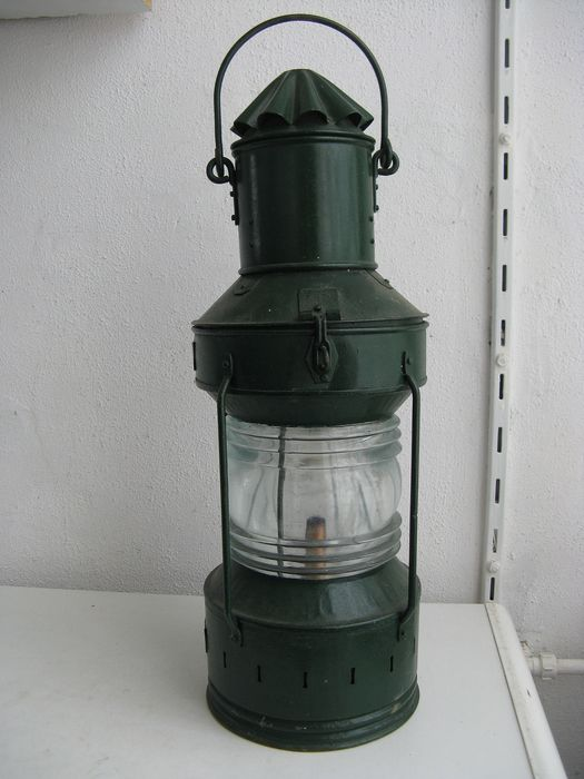 Original antique green ship lamp - metal and glass - Early 20th century