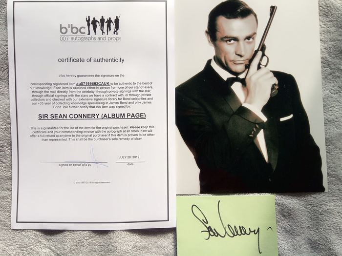 James Bond 007  - Sean Connery - Autograph - Signed card with Coa b'bc  & classic photo - ideal for framing