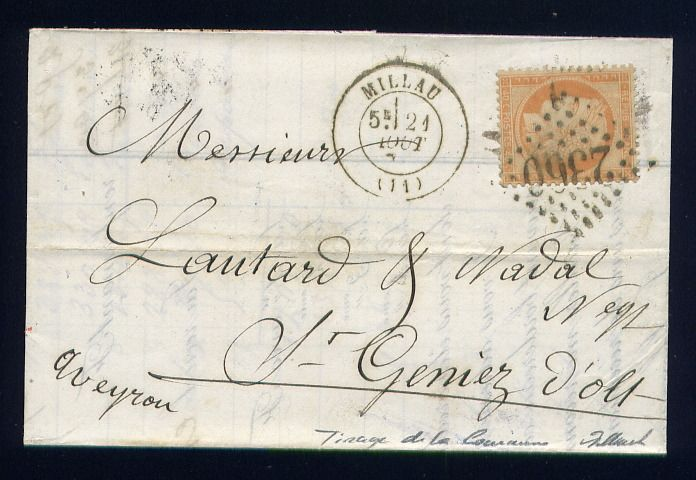 France 1871 - Rare letter from Millau for St Geniez d'Olt with a No. 38 - Print of the Commune